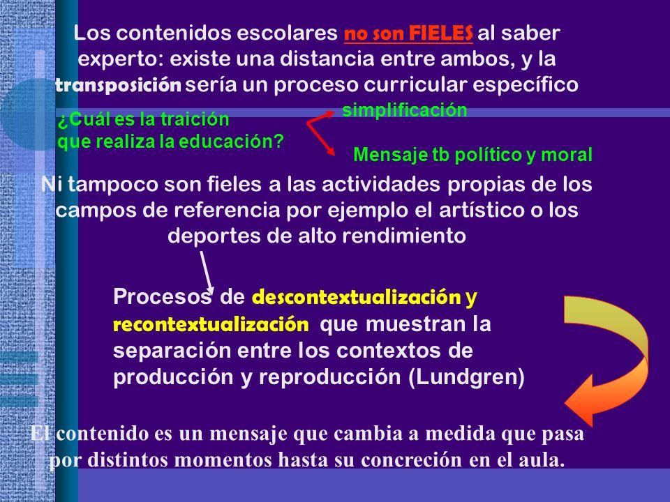 Los contenidos escolares no son FIELES al saber experto: existe una distancia entre ambos, y la transposición sería un proceso curricular específico N