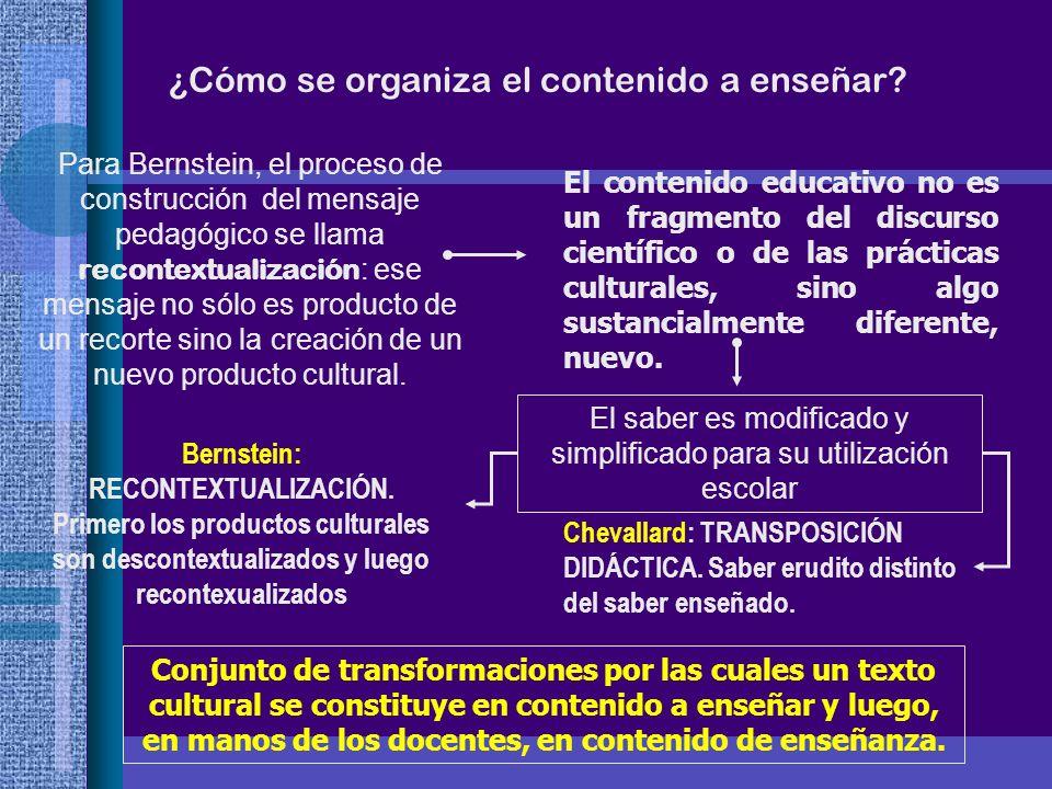 ¿Cómo se organiza el contenido a enseñar? Para Bernstein, el proceso de construcción del mensaje pedagógico se llama recontextualización : ese mensaje