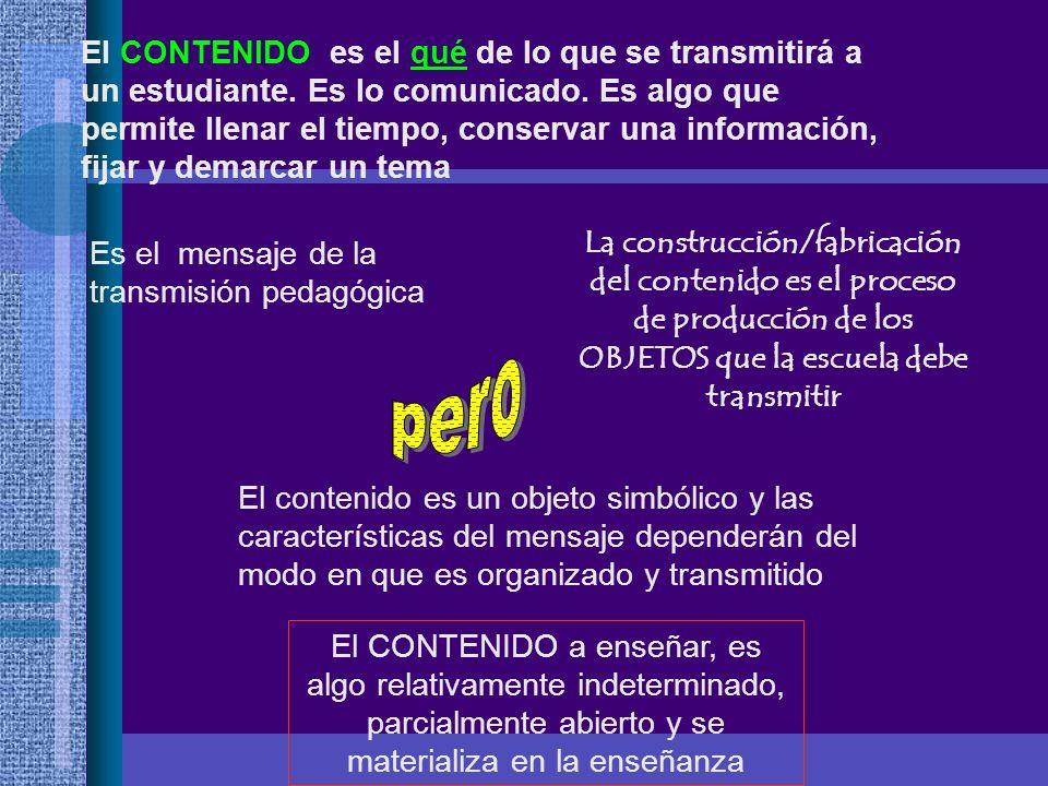El CONTENIDO es el qué de lo que se transmitirá a un estudiante. Es lo comunicado. Es algo que permite llenar el tiempo, conservar una información, fi