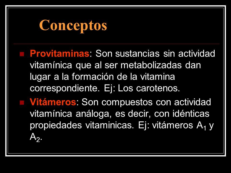 Conceptos Provitaminas: Son sustancias sin actividad vitamínica que al ser metabolizadas dan lugar a la formación de la vitamina correspondiente. Ej: