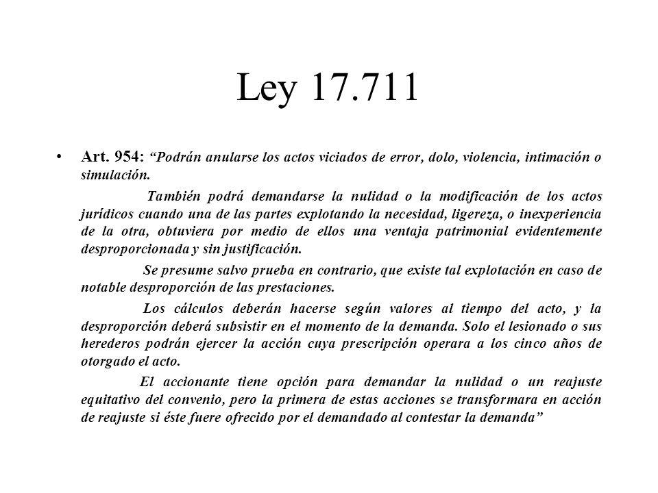 Ley 17.711 Art. 954: Podrán anularse los actos viciados de error, dolo, violencia, intimación o simulación. También podrá demandarse la nulidad o la m