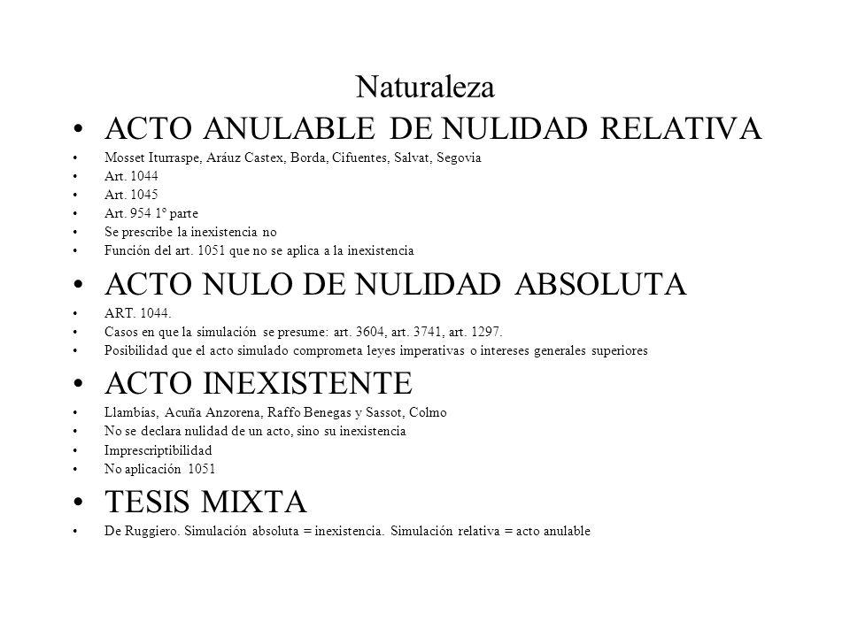 Naturaleza ACTO ANULABLE DE NULIDAD RELATIVA Mosset Iturraspe, Aráuz Castex, Borda, Cifuentes, Salvat, Segovia Art. 1044 Art. 1045 Art. 954 1º parte S