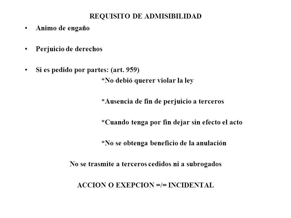 REQUISITO DE ADMISIBILIDAD Animo de engaño Perjuicio de derechos Si es pedido por partes: (art. 959) *No debió querer violar la ley *Ausencia de fin d