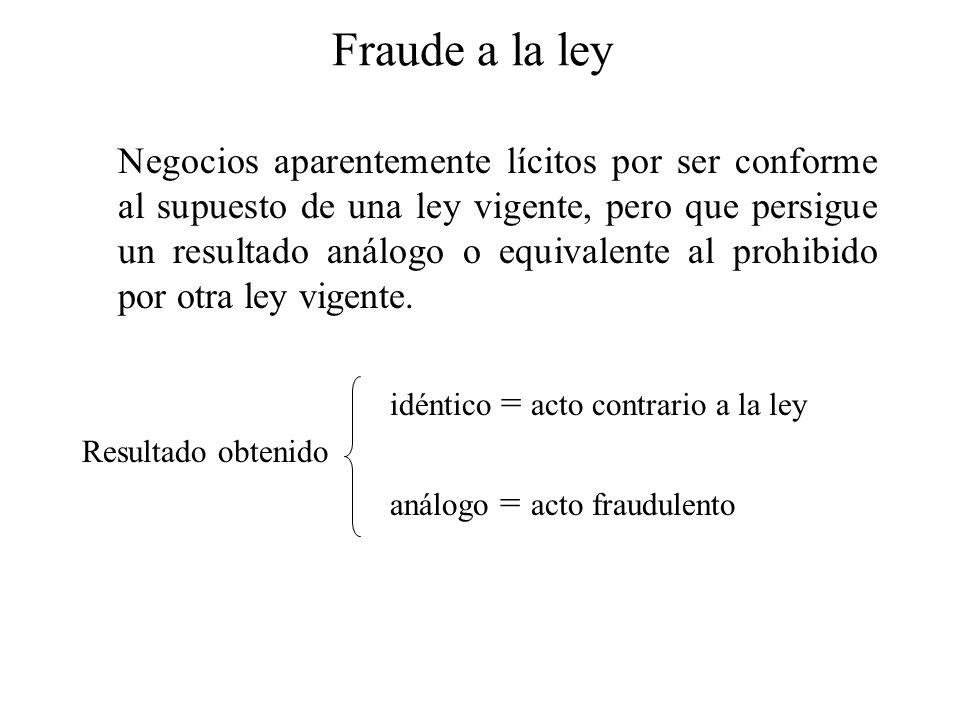 Fraude a la ley Negocios aparentemente lícitos por ser conforme al supuesto de una ley vigente, pero que persigue un resultado análogo o equivalente a