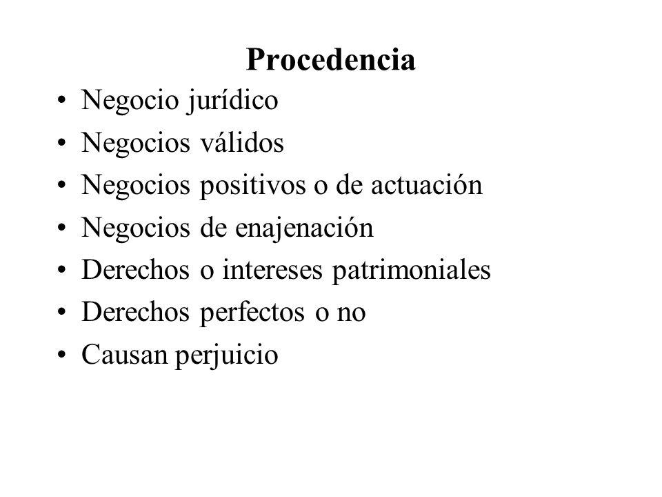 Procedencia Negocio jurídico Negocios válidos Negocios positivos o de actuación Negocios de enajenación Derechos o intereses patrimoniales Derechos pe