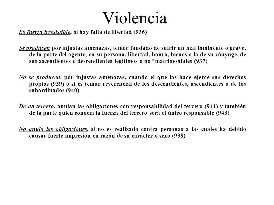 Violencia Es fuerza irresistible, si hay falta de libertad (936) Se producen por injustas amenazas, temor fundado de sufrir un mal inminente o grave,