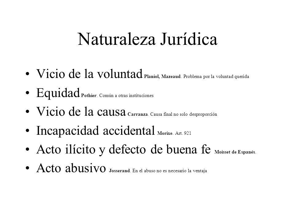 Naturaleza Jurídica Vicio de la voluntad Planiol, Mazeaud. Problema por la voluntad querida Equidad Pothier. Común a otras instituciones Vicio de la c
