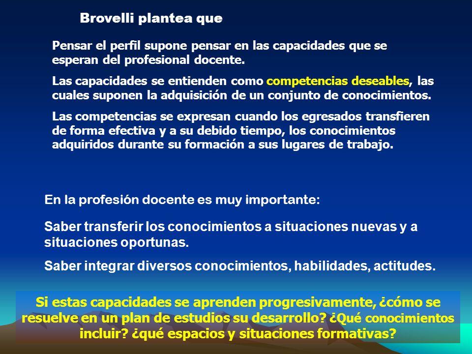 Brovelli plantea que Pensar el perfil supone pensar en las capacidades que se esperan del profesional docente. Las capacidades se entienden como compe