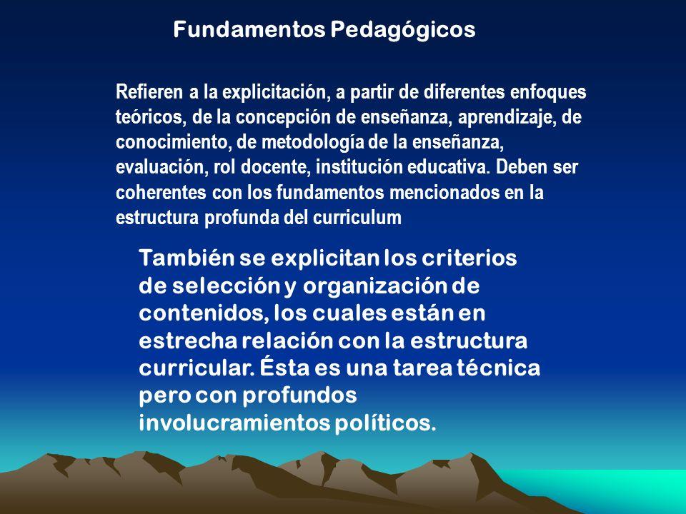 Fundamentos Pedagógicos Refieren a la explicitación, a partir de diferentes enfoques teóricos, de la concepción de enseñanza, aprendizaje, de conocimi