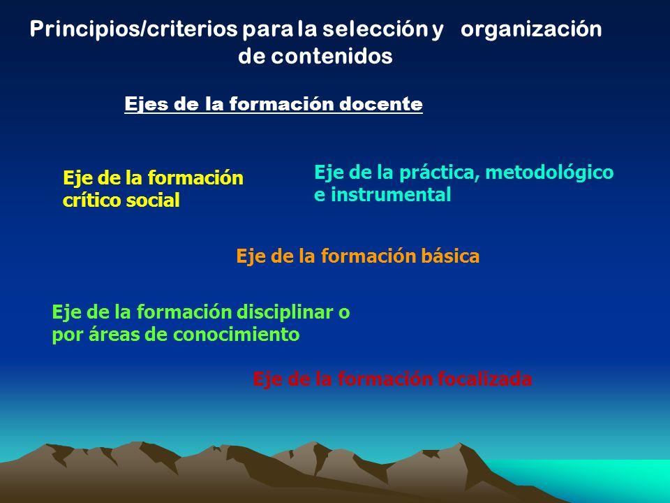 Principios/criterios para la selección y organización de contenidos Ejes de la formación docente Eje de la formación crítico social Eje de la formació