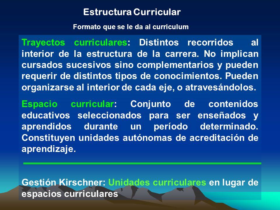 Estructura Curricular Formato que se le da al curriculum Trayectos curriculares: Distintos recorridos al interior de la estructura de la carrera. No i