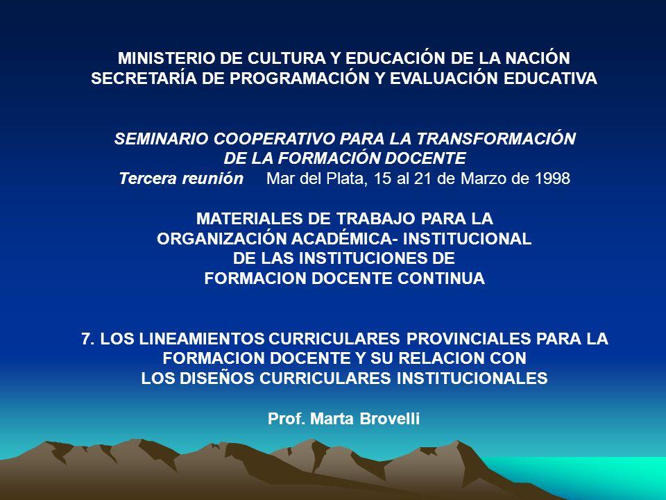 MINISTERIO DE CULTURA Y EDUCACIÓN DE LA NACIÓN SECRETARÍA DE PROGRAMACIÓN Y EVALUACIÓN EDUCATIVA SEMINARIO COOPERATIVO PARA LA TRANSFORMACIÓN DE LA FO