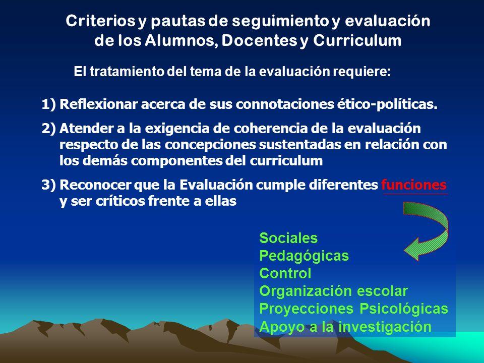 Criterios y pautas de seguimiento y evaluación de los Alumnos, Docentes y Curriculum El tratamiento del tema de la evaluación requiere: 1)Reflexionar