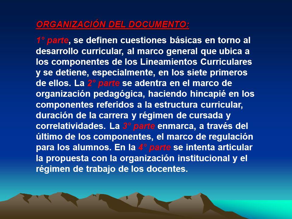 ORGANIZACIÓN DEL DOCUMENTO: 1° parte, se definen cuestiones básicas en torno al desarrollo curricular, al marco general que ubica a los componentes de