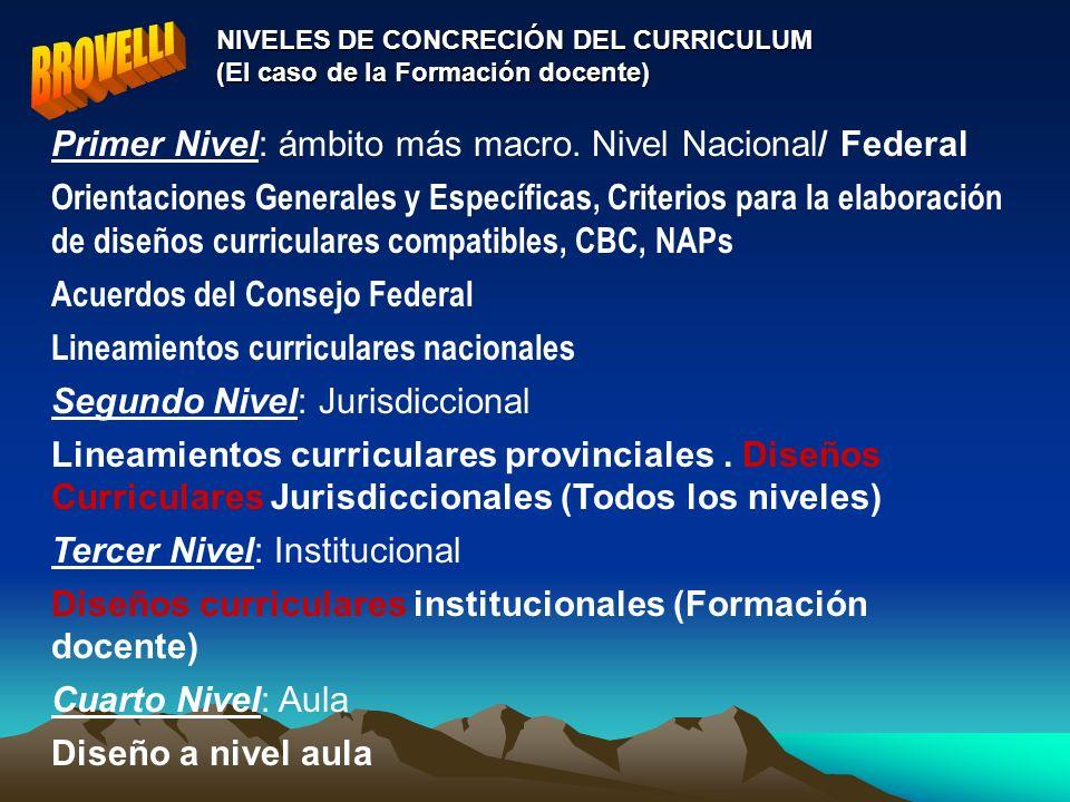NIVELES DE CONCRECIÓN DEL CURRICULUM (El caso de la Formación docente) Primer Nivel: ámbito más macro. Nivel Nacional/ Federal Orientaciones Generales