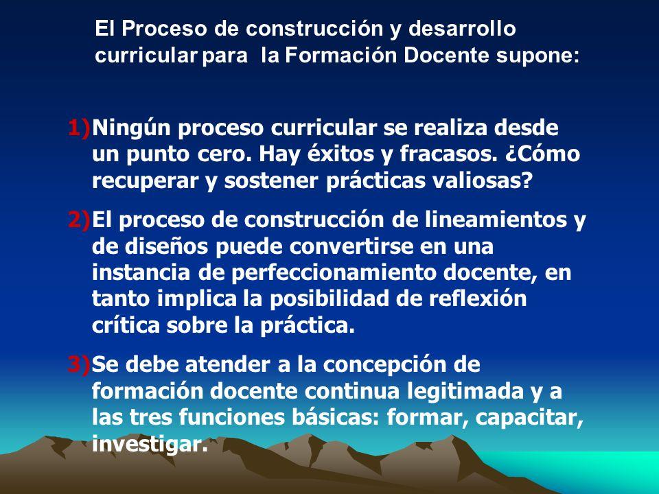 El Proceso de construcción y desarrollo curricular para la Formación Docente supone: 1)Ningún proceso curricular se realiza desde un punto cero. Hay é