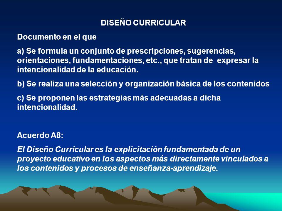 DISEÑO CURRICULAR Documento en el que a) Se formula un conjunto de prescripciones, sugerencias, orientaciones, fundamentaciones, etc., que tratan de e