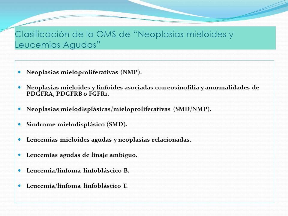 Clasificación de la OMS de Neoplasias mieloides y Leucemias Agudas Neoplasias mieloproliferativas (NMP).