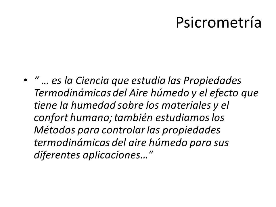 Psicrometría … es la Ciencia que estudia las Propiedades Termodinámicas del Aire húmedo y el efecto que tiene la humedad sobre los materiales y el con