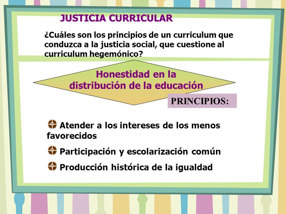 JUSTICIA CURRICULAR Atender a los intereses de los menos favorecidos Participación y escolarización común Producción histórica de la igualdad Honestidad en la distribución de la educación PRINCIPIOS: ¿Cuáles son los principios de un curriculum que conduzca a la justicia social, que cuestione al curriculum hegemónico?