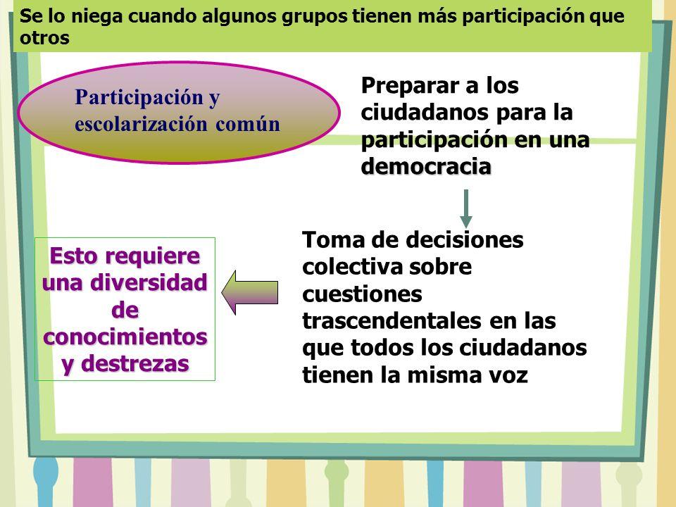 Se lo niega cuando algunos grupos tienen más participación que otros Participación y escolarización común democracia Preparar a los ciudadanos para la participación en una democracia Toma de decisiones colectiva sobre cuestiones trascendentales en las que todos los ciudadanos tienen la misma voz Esto requiere una diversidad de conocimientos y destrezas