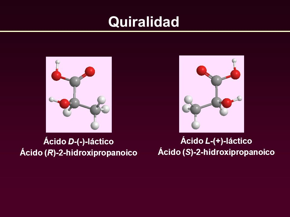 Ácido D-(-)-láctico Ácido (R)-2-hidroxipropanoico Quiralidad Ácido L-(+)-láctico Ácido (S)-2-hidroxipropanoico