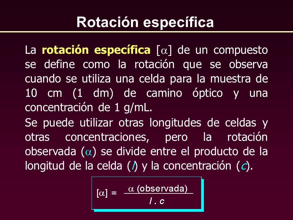 La rotación específica [ ] de un compuesto se define como la rotación que se observa cuando se utiliza una celda para la muestra de 10 cm (1 dm) de ca