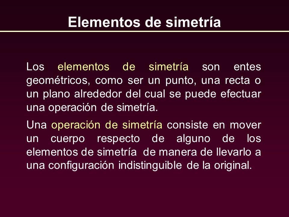 Elementos de simetría Los elementos de simetría son entes geométricos, como ser un punto, una recta o un plano alrededor del cual se puede efectuar un