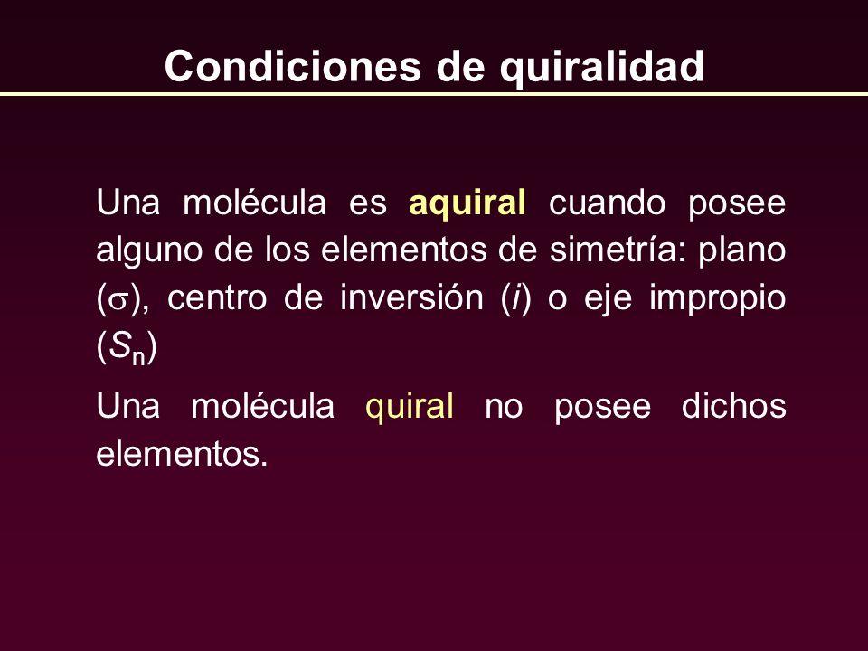 Una molécula es aquiral cuando posee alguno de los elementos de simetría: plano ( ), centro de inversión (i) o eje impropio (S n ) Una molécula quiral