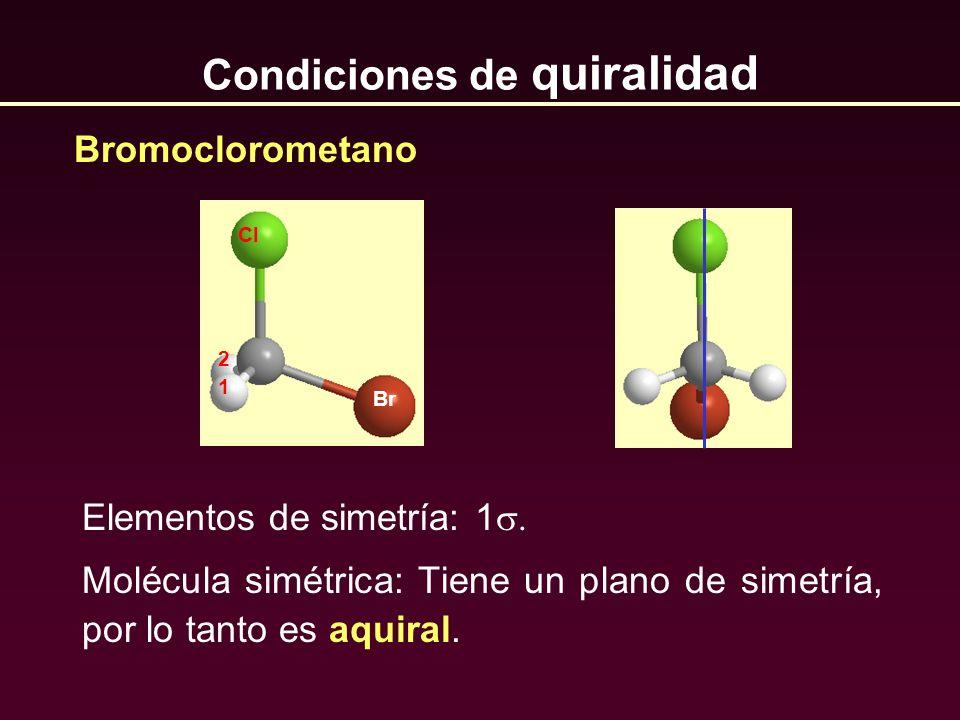 Condiciones de quiralidad Elementos de simetría: 1 Molécula simétrica: Tiene un plano de simetría, por lo tanto es aquiral. Bromoclorometano Cl 1 2 Br