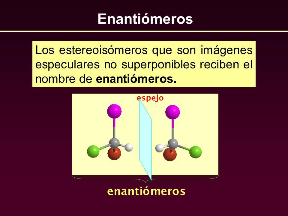 Enantiómeros Los estereoisómeros que son imágenes especulares no superponibles reciben el nombre de enantiómeros. enantiómeros espejo