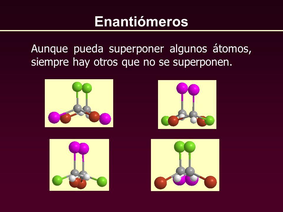 Enantiómeros Aunque pueda superponer algunos átomos, siempre hay otros que no se superponen.