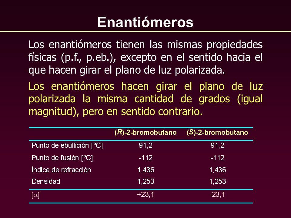 Enantiómeros Los enantiómeros tienen las mismas propiedades físicas (p.f., p.eb.), excepto en el sentido hacia el que hacen girar el plano de luz pola