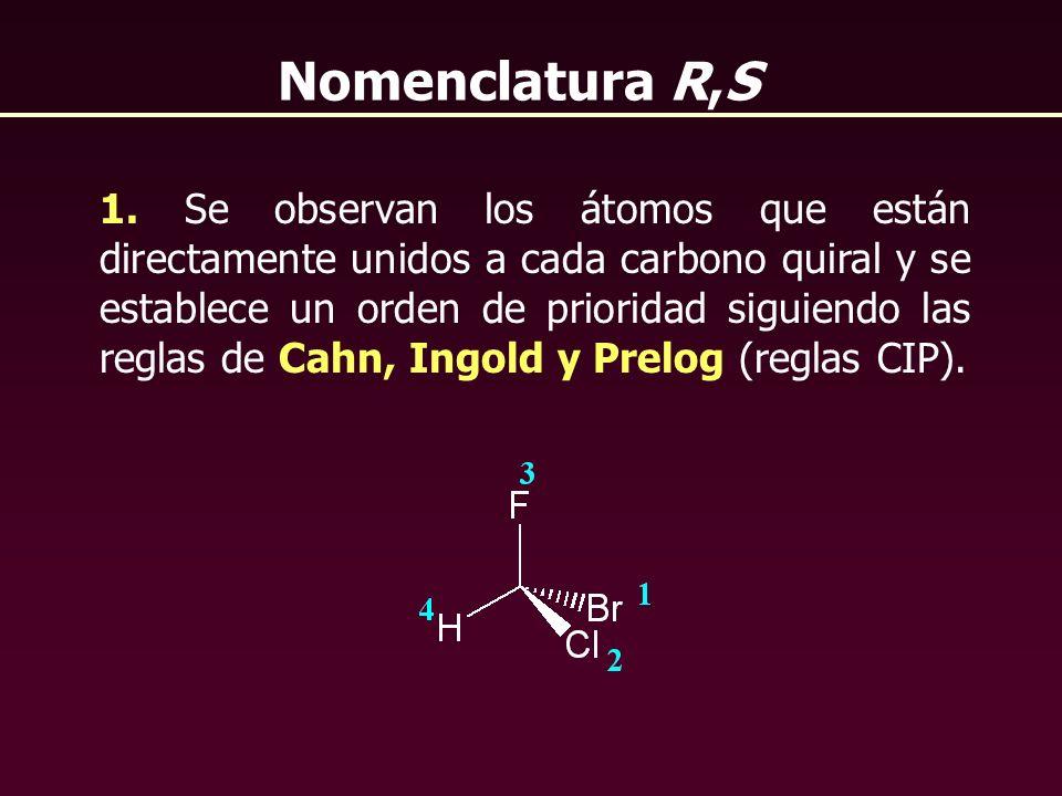 1. Se observan los átomos que están directamente unidos a cada carbono quiral y se establece un orden de prioridad siguiendo las reglas de Cahn, Ingol