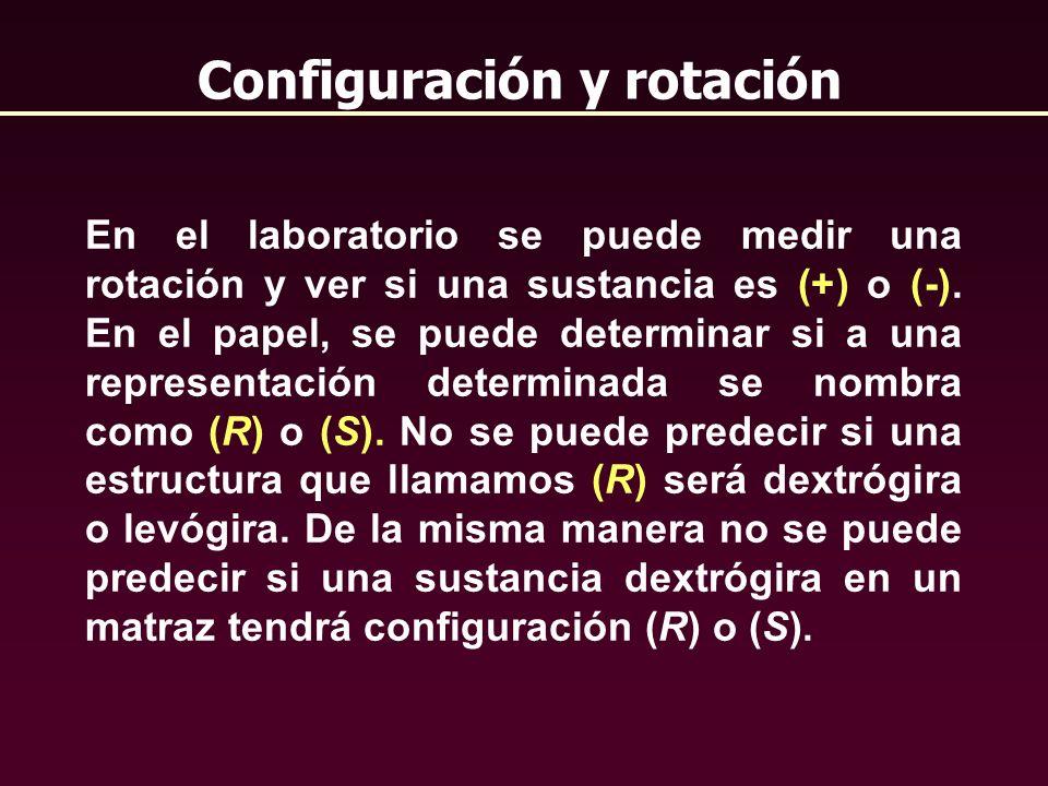 Configuración y rotación En el laboratorio se puede medir una rotación y ver si una sustancia es (+) o (-). En el papel, se puede determinar si a una