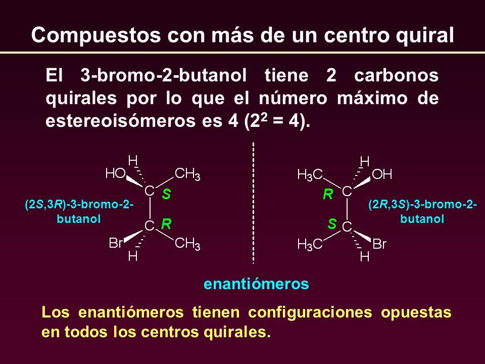 Compuestos con más de un centro quiral El 3-bromo-2-butanol tiene 2 carbonos quirales por lo que el número máximo de estereoisómeros es 4 (2 2 = 4). S