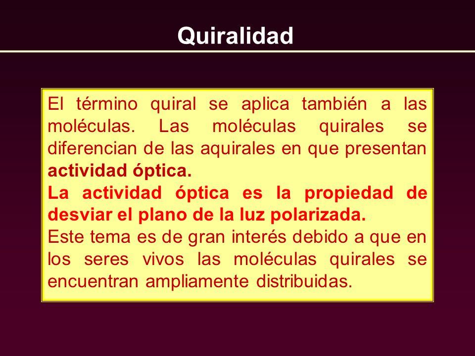 Quiralidad El término quiral se aplica también a las moléculas. Las moléculas quirales se diferencian de las aquirales en que presentan actividad ópti