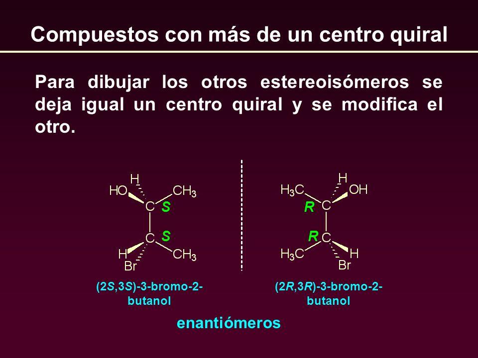 Compuestos con más de un centro quiral Para dibujar los otros estereoisómeros se deja igual un centro quiral y se modifica el otro. SR SR enantiómeros