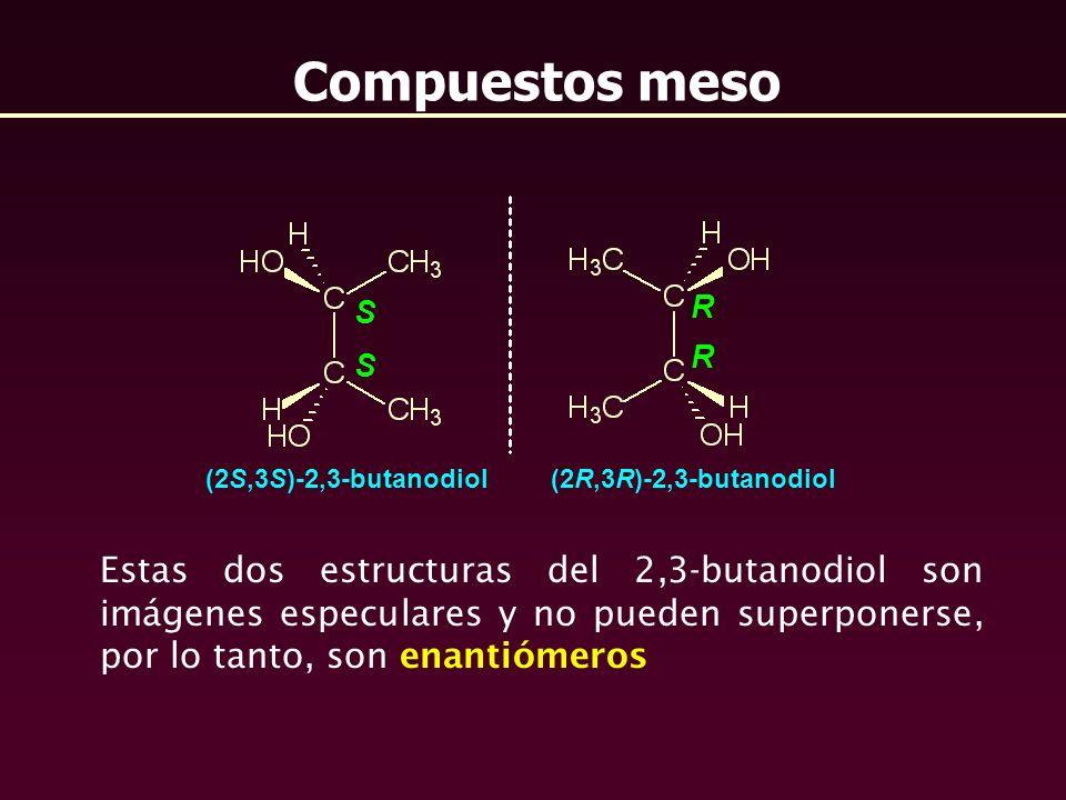 Compuestos meso Estas dos estructuras del 2,3-butanodiol son imágenes especulares y no pueden superponerse, por lo tanto, son enantiómeros S R S R (2S