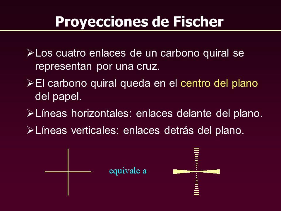 Proyecciones de Fischer Los cuatro enlaces de un carbono quiral se representan por una cruz. El carbono quiral queda en el centro del plano del papel.