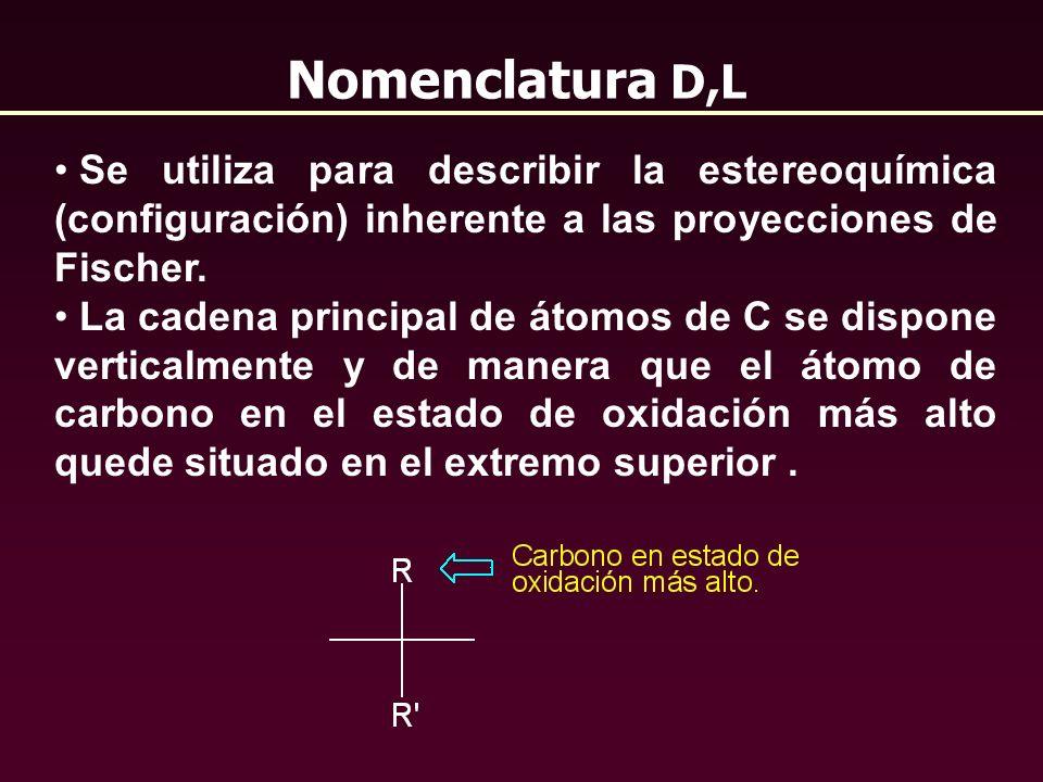 Nomenclatura D,L Se utiliza para describir la estereoquímica (configuración) inherente a las proyecciones de Fischer. La cadena principal de átomos de