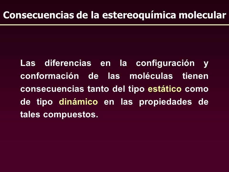 Las diferencias en la configuración y conformación de las moléculas tienen consecuencias tanto del tipo estático como de tipo dinámico en las propieda