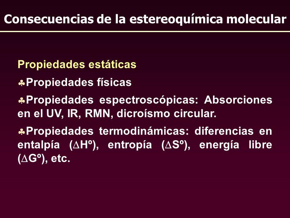 Propiedades estáticas Propiedades físicas Propiedades espectroscópicas: Absorciones en el UV, IR, RMN, dicroísmo circular. Propiedades termodinámicas: