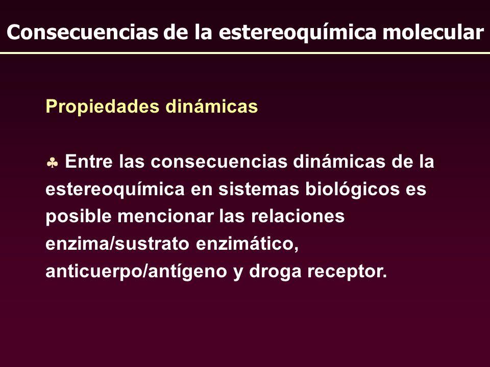 Propiedades dinámicas Entre las consecuencias dinámicas de la estereoquímica en sistemas biológicos es posible mencionar las relaciones enzima/sustrat