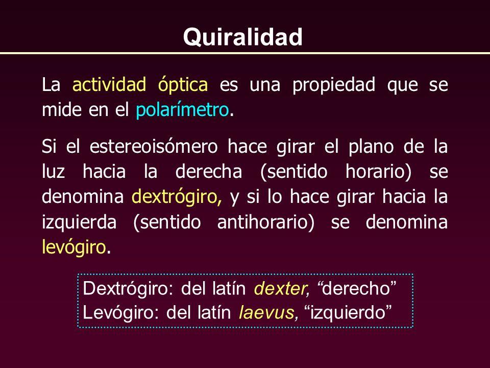 La actividad óptica es una propiedad que se mide en el polarímetro. Si el estereoisómero hace girar el plano de la luz hacia la derecha (sentido horar