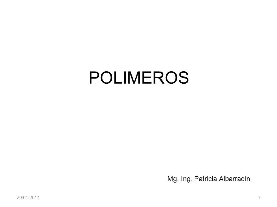 20/01/20141 POLIMEROS Mg. Ing. Patricia Albarracín