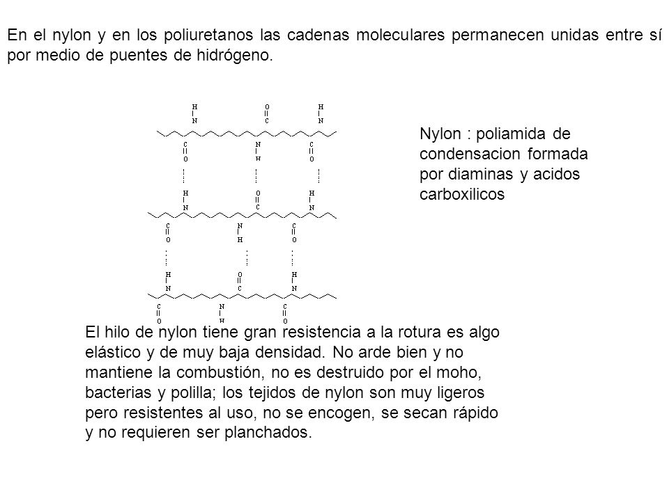 En el nylon y en los poliuretanos las cadenas moleculares permanecen unidas entre sí por medio de puentes de hidrógeno. El hilo de nylon tiene gran re