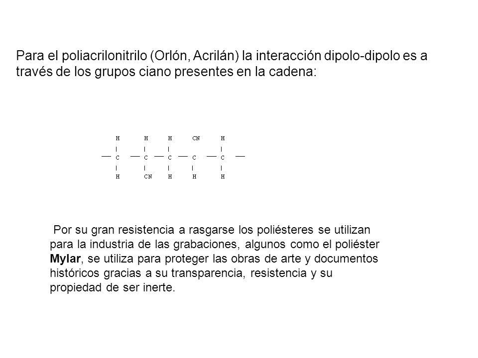 Para el poliacrilonitrilo (Orlón, Acrilán) la interacción dipolo-dipolo es a través de los grupos ciano presentes en la cadena: Por su gran resistenci
