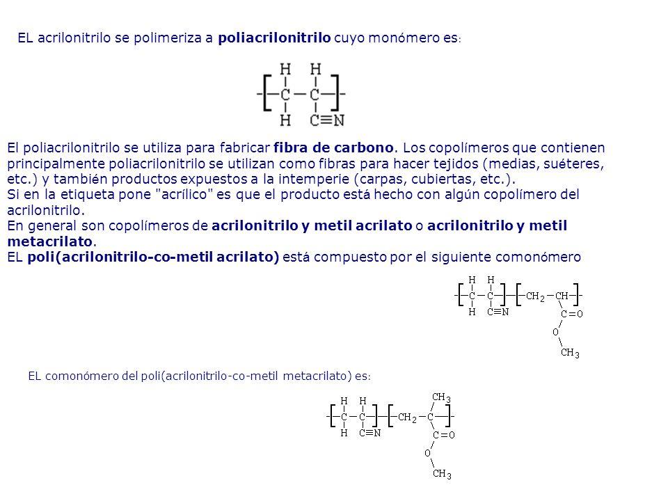 EL acrilonitrilo se polimeriza a poliacrilonitrilo cuyo mon ó mero es : EL comon ó mero del poli(acrilonitrilo-co-metil metacrilato) es : El poliacril