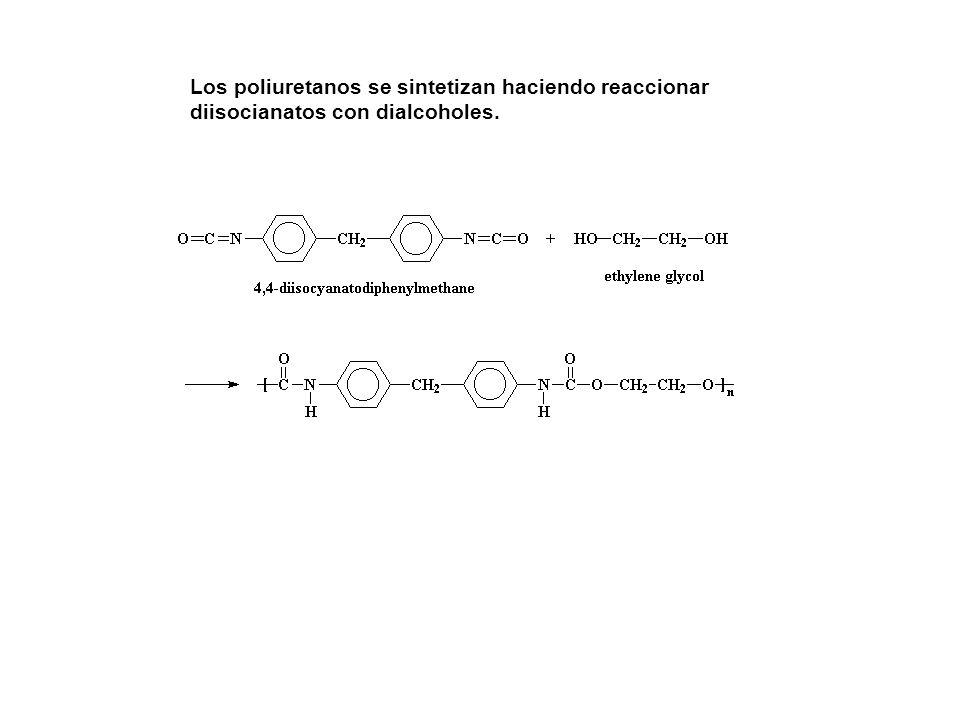 Los poliuretanos se sintetizan haciendo reaccionar diisocianatos con dialcoholes.